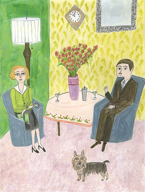 Image of Martha and Harry enjoy an extra dry martini before bed. Original painting by Vivienne Strauss.
