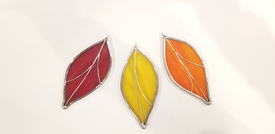Image of Leaf Set- stained glass