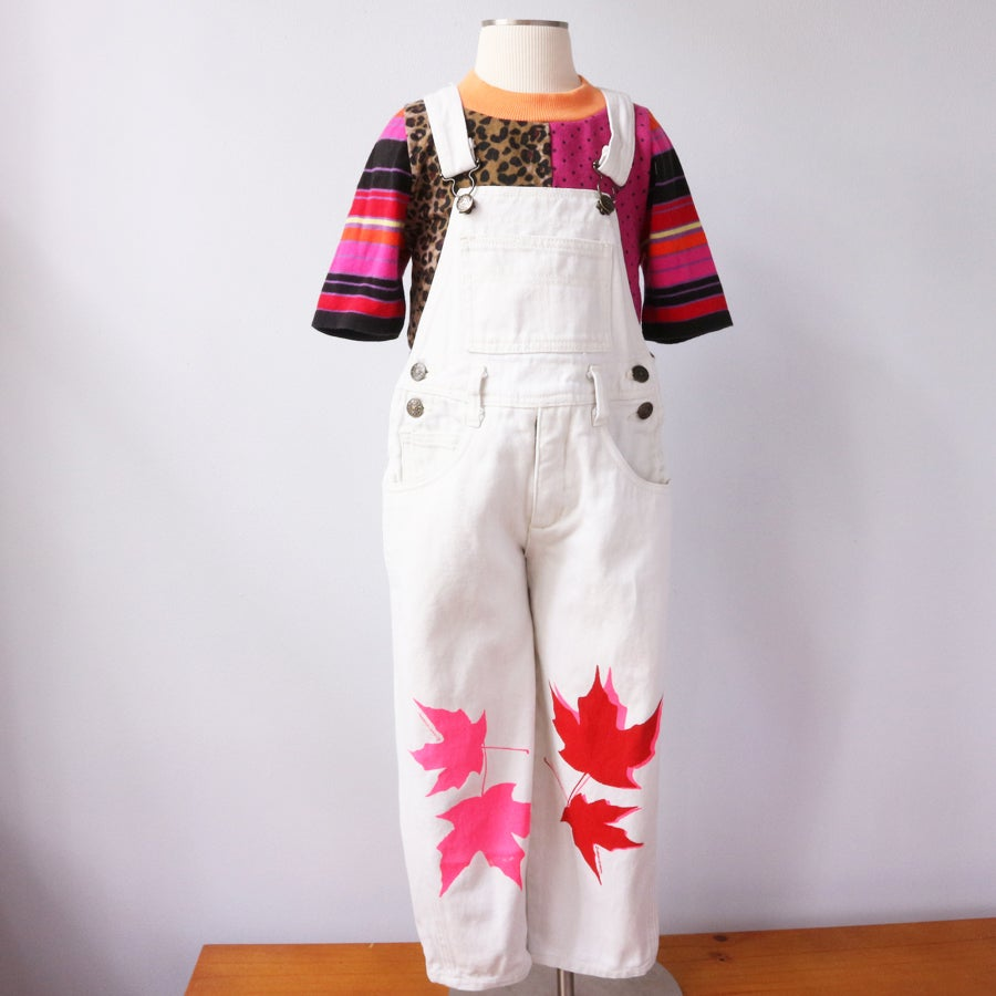 Image of maple leaf leaves vintage find size 5 nineties 90s off white canvas 100% cotton overalls