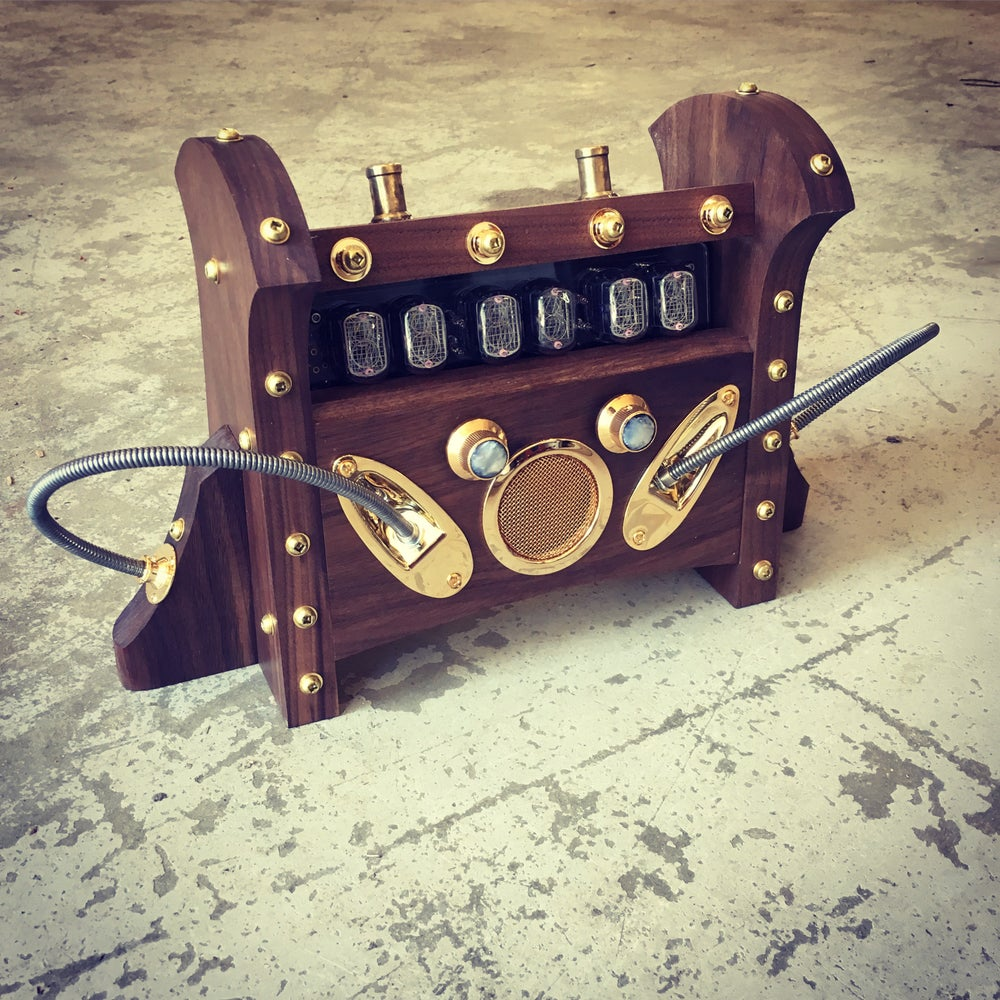 Image of Nixie Clock MKI - Walnut & Gold