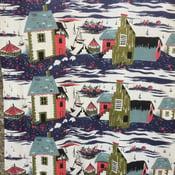 "Image of Stunning mid century ""New England"" barkcloth"
