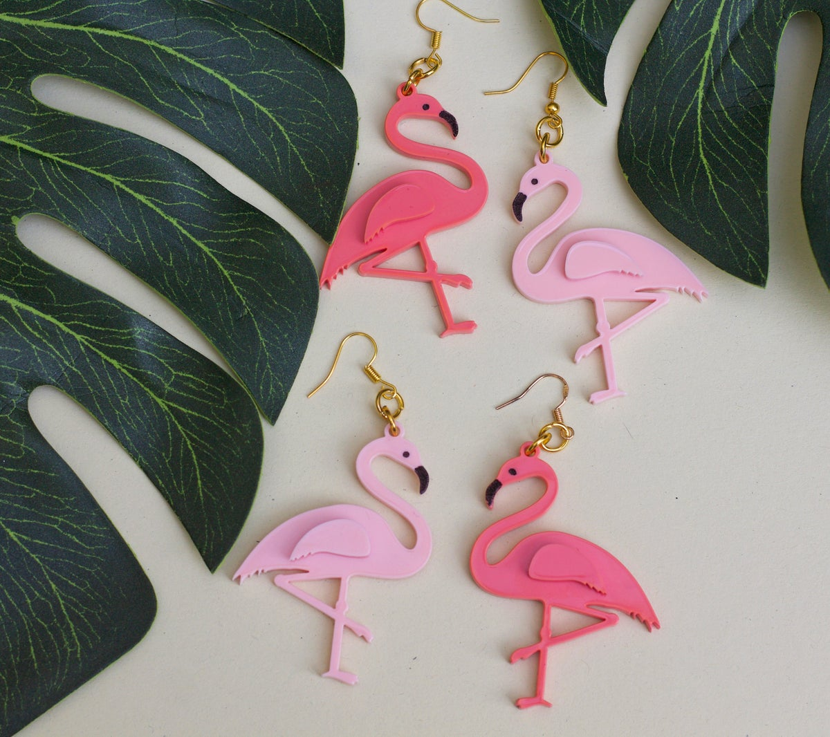 Image of Flamingo Drop Earrings Coral Pink
