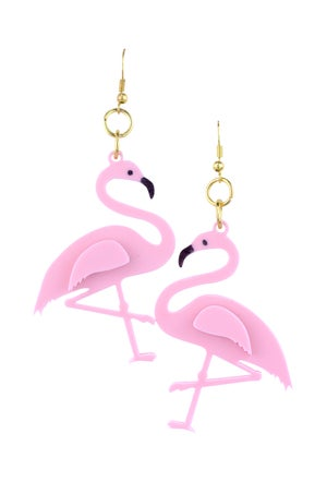 Flamingo Drop Earrings Baby Pink - Black Heart Creatives