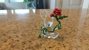 Image of Sculpted Glass Rabbit with Rose