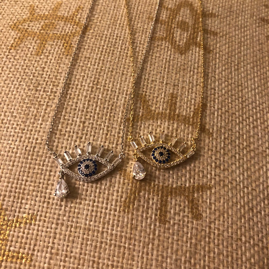Image of Evil eye necklace with CZ tear