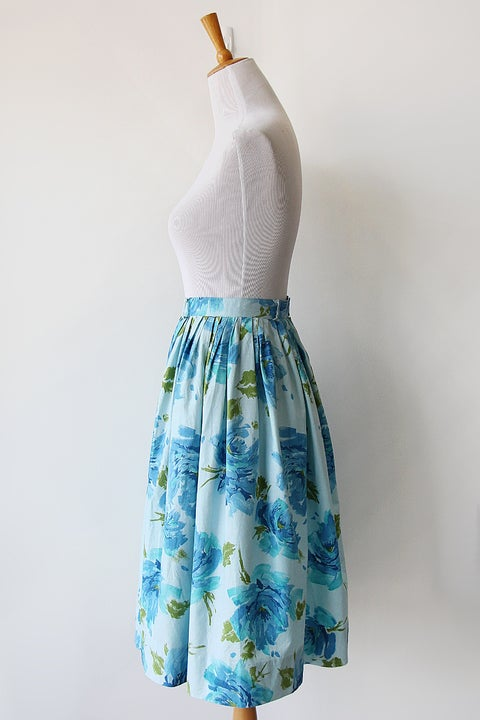 Image of Watercolor Flowers Blue Cotton Skirt
