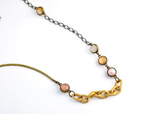 Image of long stranded necklace - blush and copper