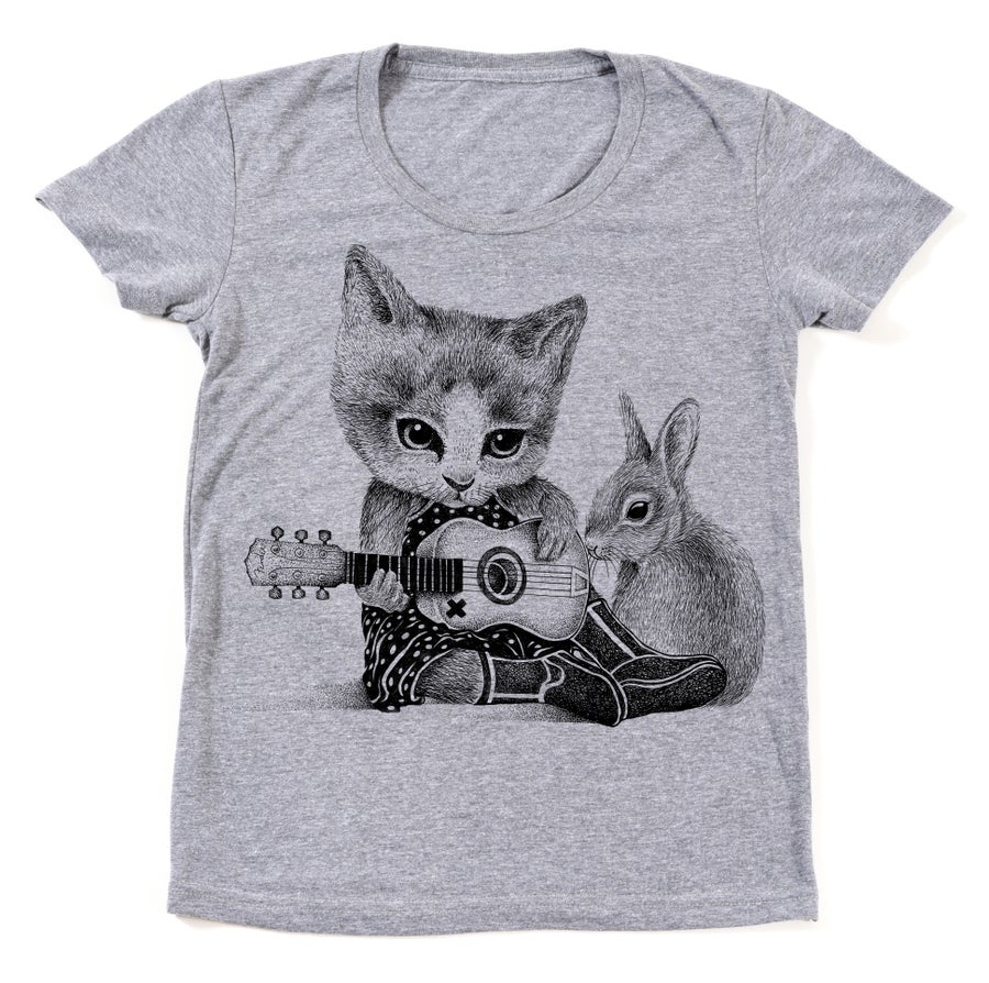 Image of Ladies Folk Cat Tee