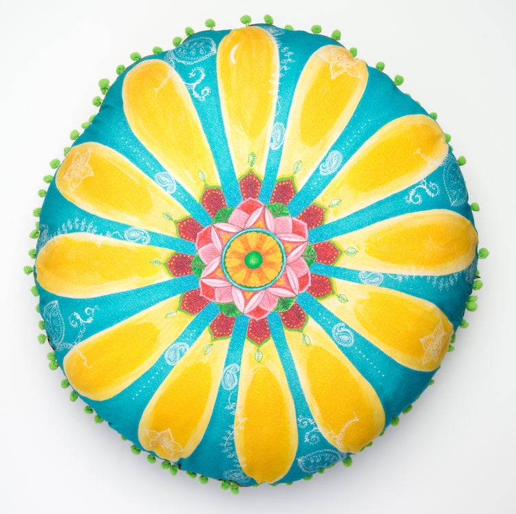 "Image of ""Be Happy"" - Daisy Meditation Cushion"