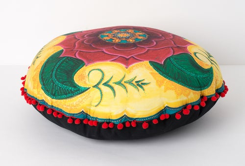 "Image of "" Grounded and confident"" - Mehndi Rose Meditation Cushion"