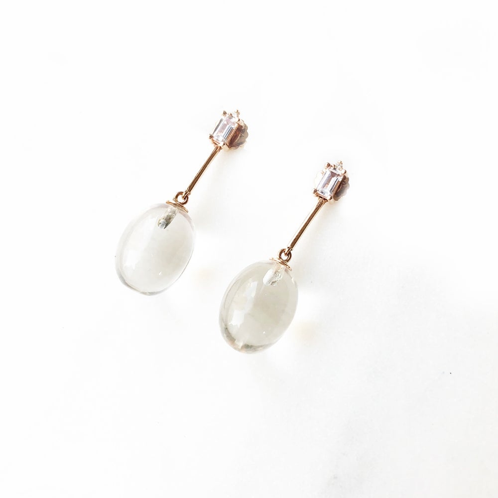 Image of Clear Quartz Egg Drop Earring