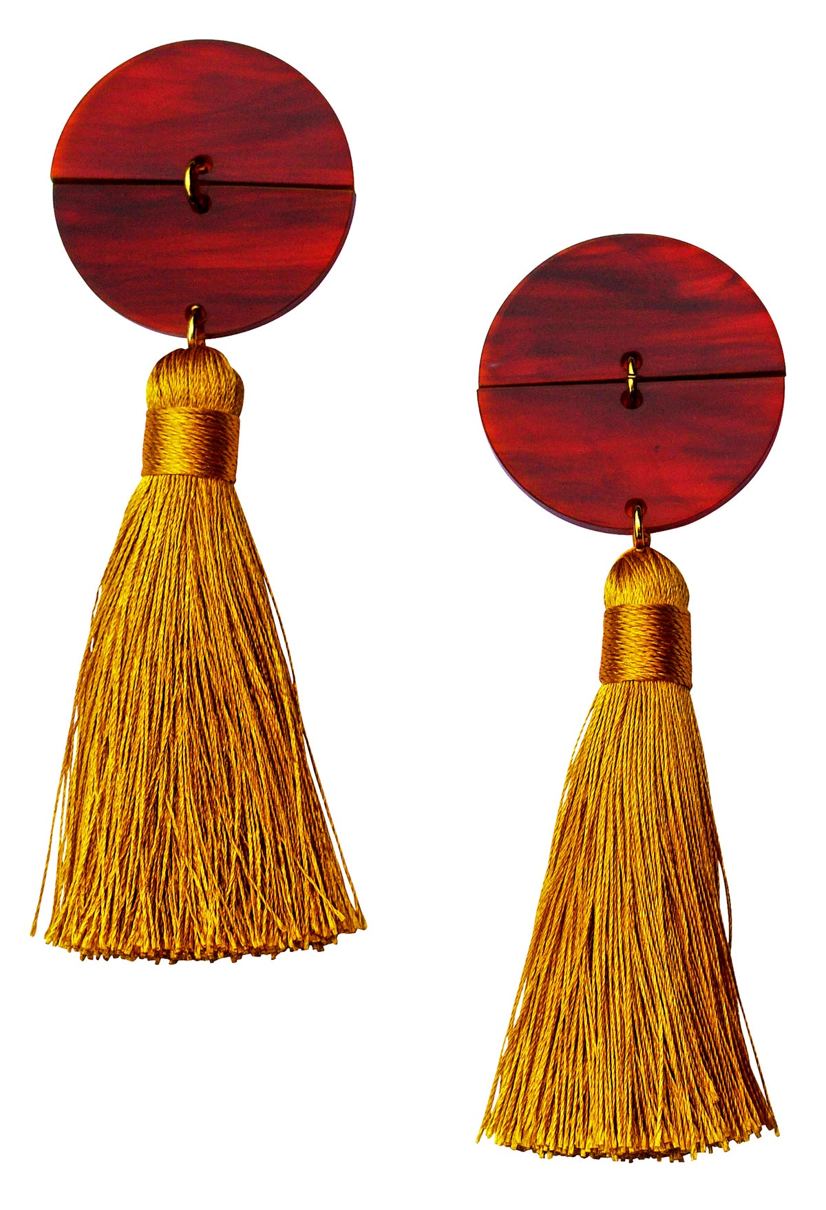 Image of Large Tortoise Shell Mustard Tassel Statement Earrings
