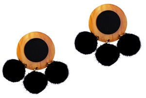 Caramel Marble & Black Pom Pom Disc Earrings  - Black Heart Creatives