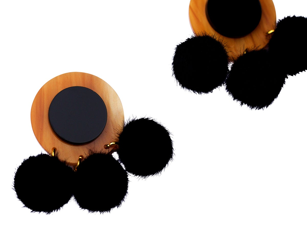 Image of Caramel Marble & Black Pom Pom Disc Earrings