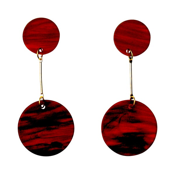 Marble Acrylic Perspex Marble Disc Earrings - Black Heart Creatives