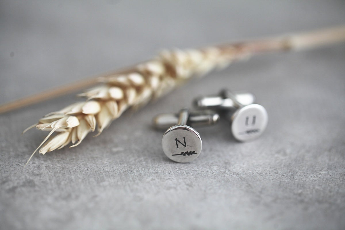 Image of *NEW* Personalised 'Barleycorn' silver cufflinks