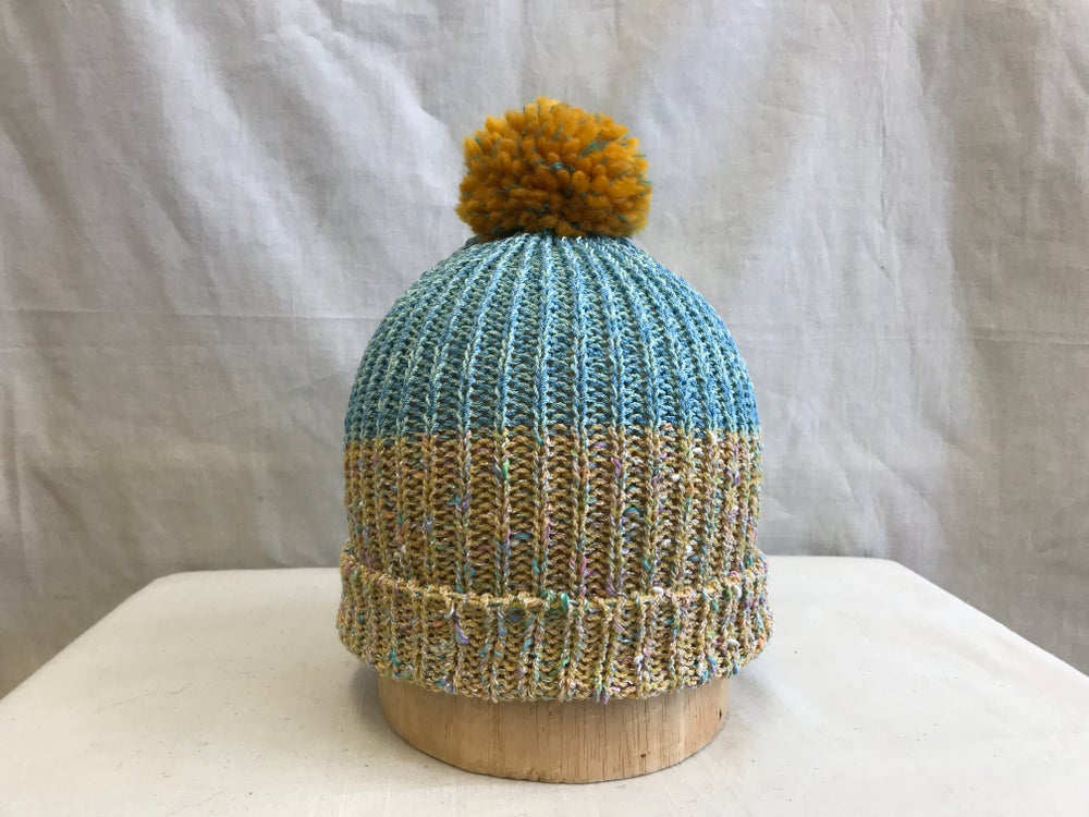 Image of Marled Knit Cap-Turquoise