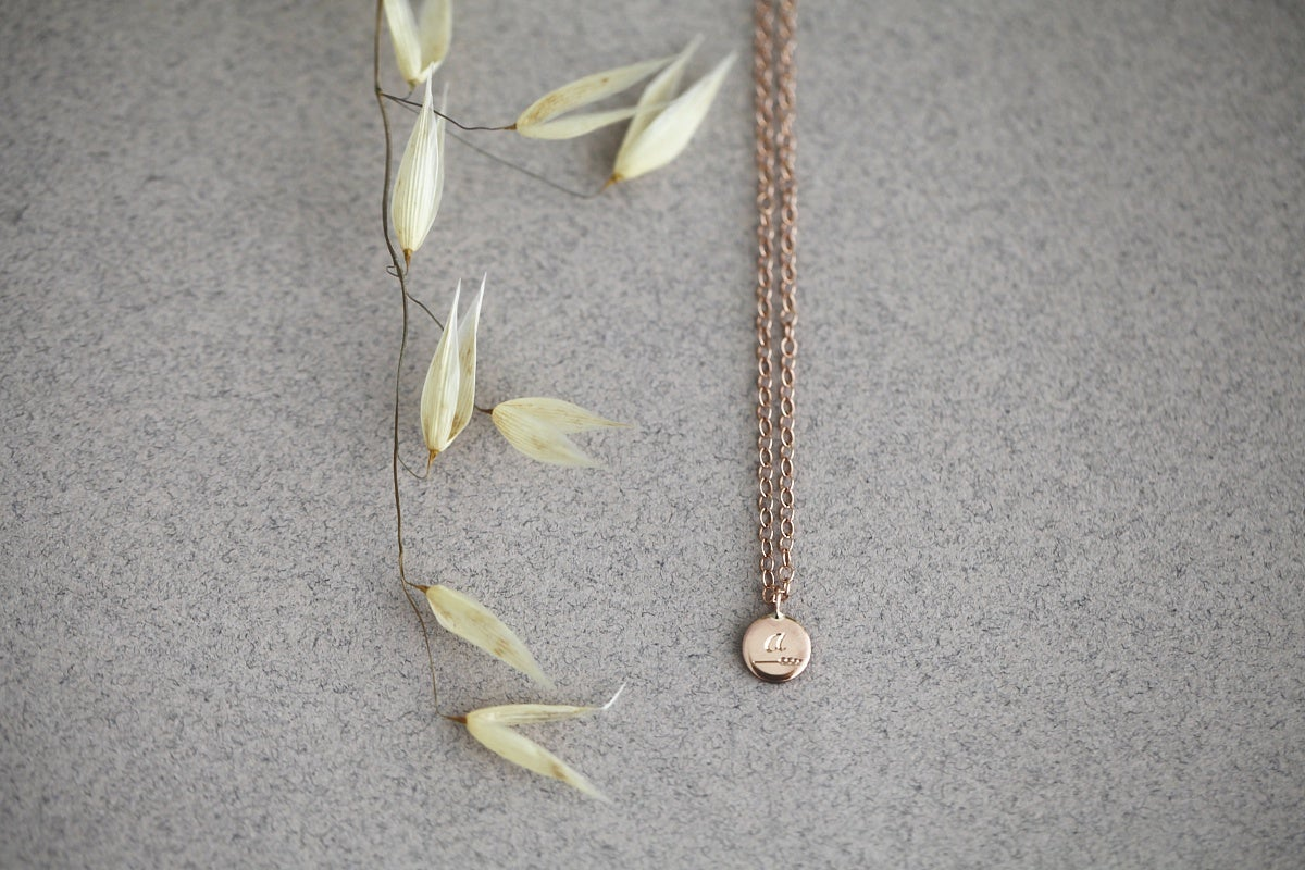 Image of Personalised 'Barleycorn' tiny rose gold disc necklace