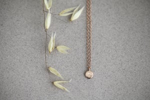 Image of *NEW* Personalised 'Barleycorn' tiny rose gold disc necklace