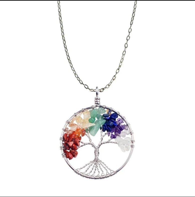 Image of Good quality tree of life natural stone chakra steel necklace