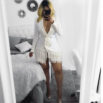 Image of Ivory blazer fringe  dress
