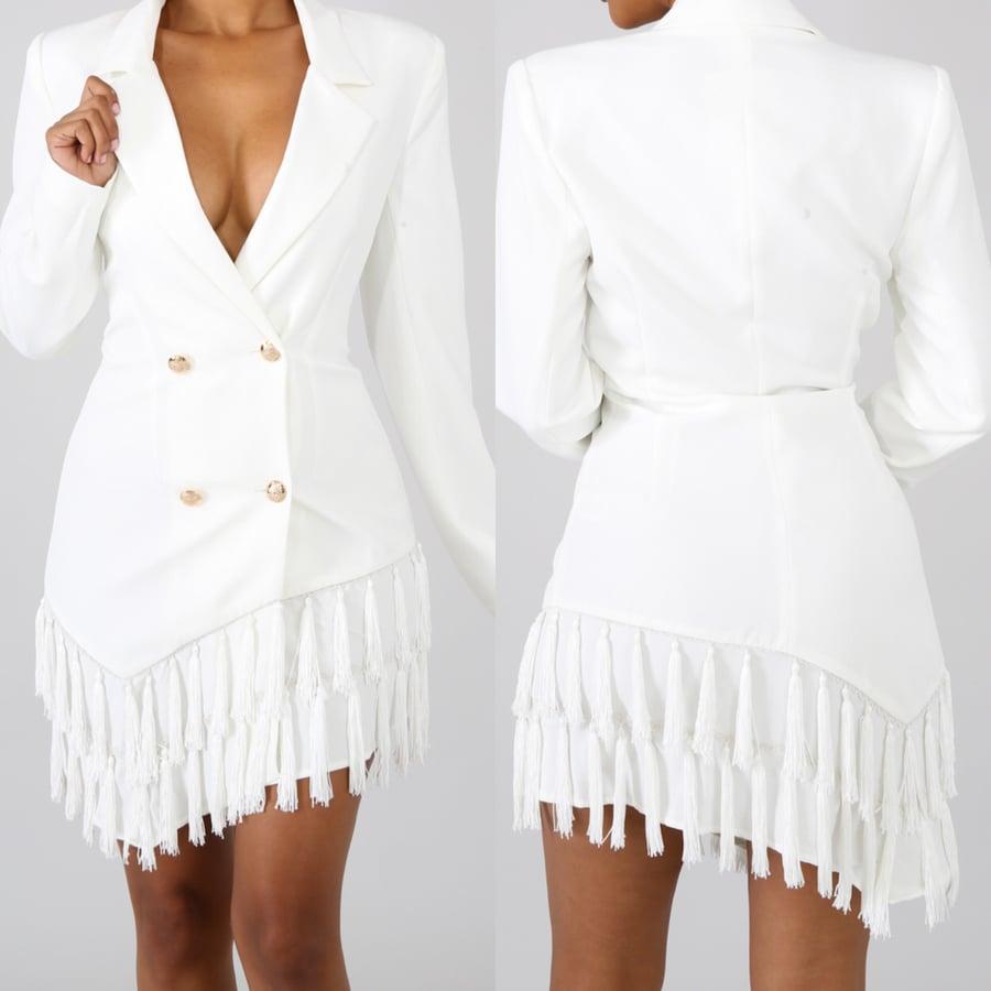 Image of Ivory blazer fringe  dress