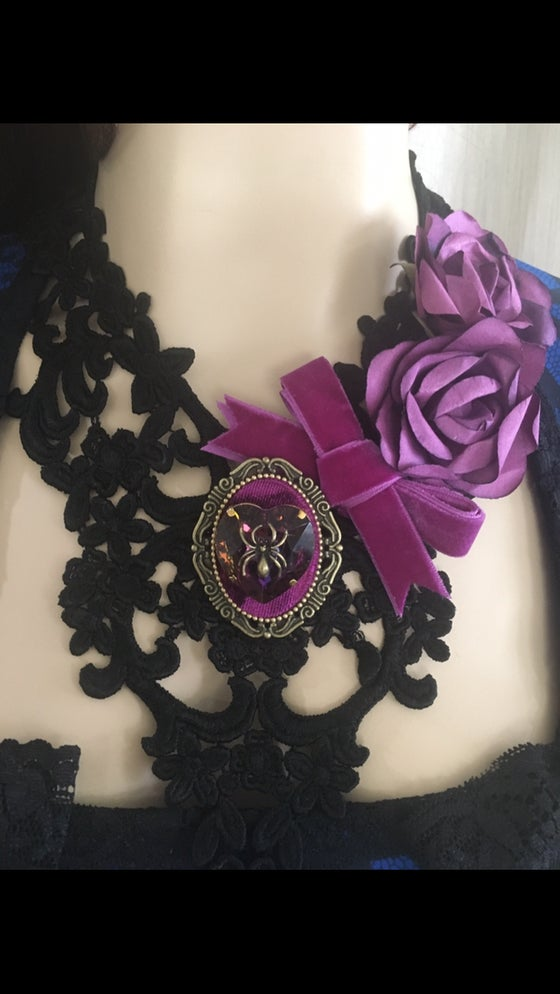 Image of Black lace necklace with purple cameo and purple rhinestone with spider