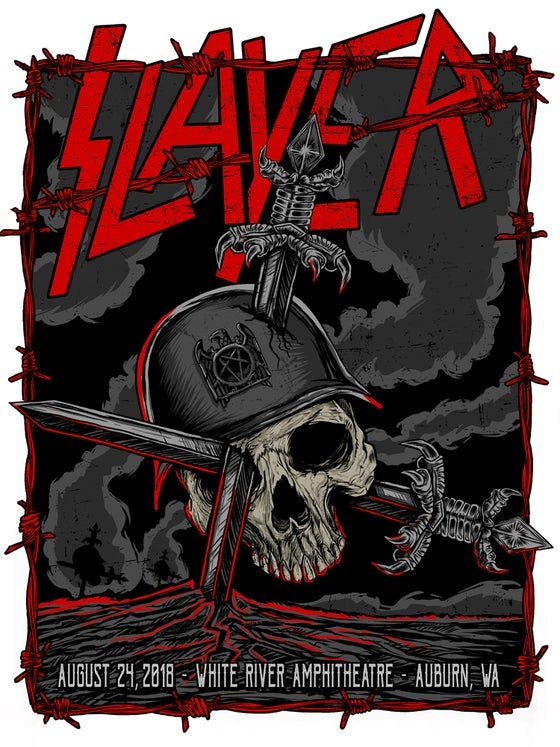 Image of SLAYER - GIG POSTER - AUBURN,WA