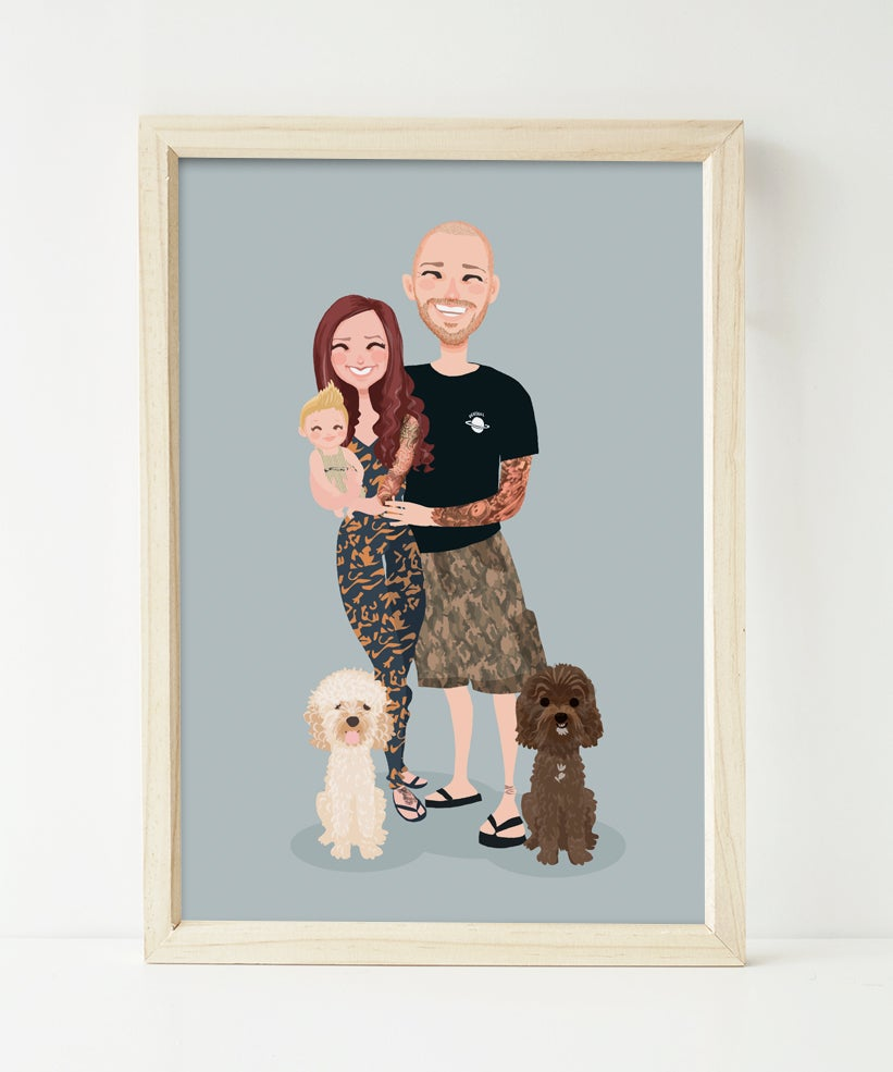 Image of Family of 3 and two pets custom portrait