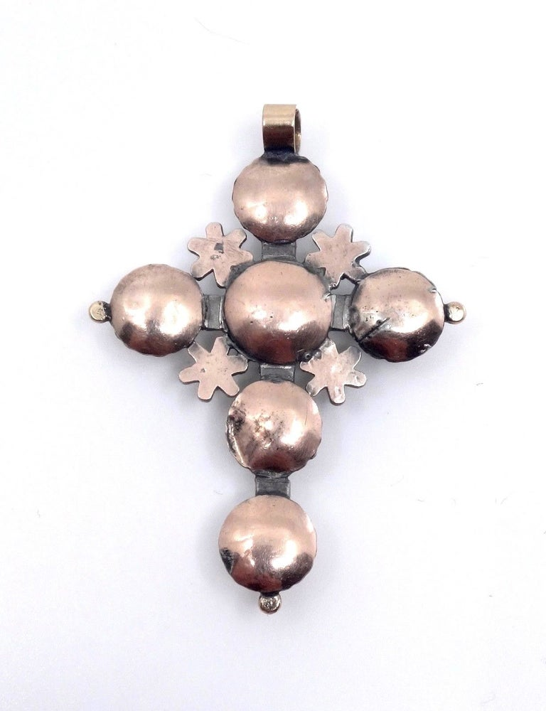Image of Croix Maintenon en or argent diamants taille rose bijou Provençal XIXème siècle