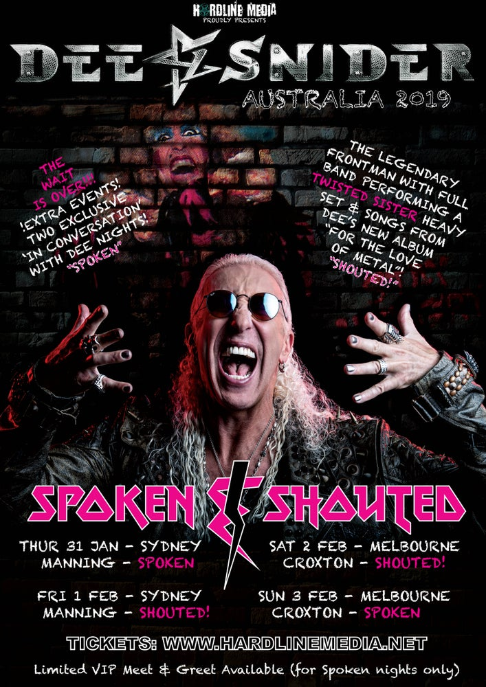 Image of GO TO OZTIX! DEE SNIDER (GA) SPOKEN - SYDNEY, MANNING - THUR 31 JAN 2019 - TICKETS THROUGH OZTIX!!!