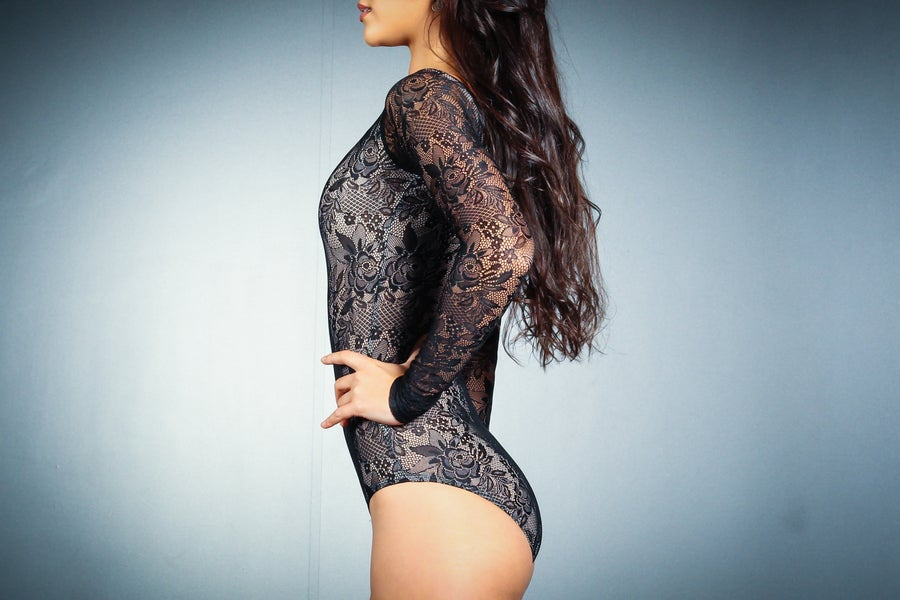 Image of Long Sleeve BodySuit - Black Lace E10113 Dancewear latin ballroom