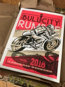"Image of 2018 Large Bull City Rumble Poster 18"" x 24"" Hand- Screened & Signed"