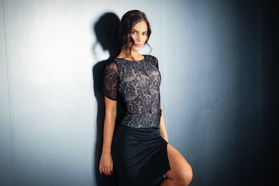Image of Mousse Top - Black Lace E10114 Dancewear latin ballroom