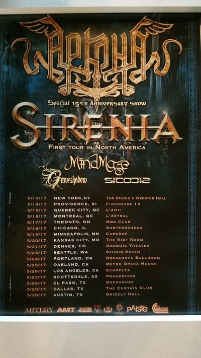Image of Arkona/Sirenia/MindMaze 2017 Tour Poster