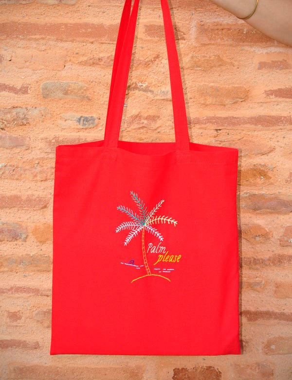 Image of Tote bag Tropical rouge / Sac brodé à la main au fil de coton