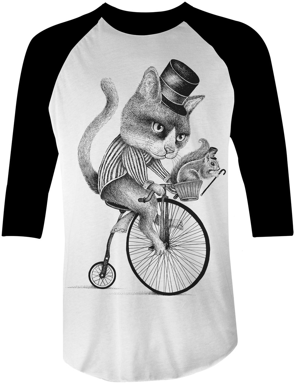 Image of Biker Cat Baseball Tee