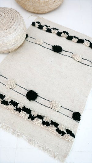 Image of Small kilim Wool Pompoms - Berber Wool Rug