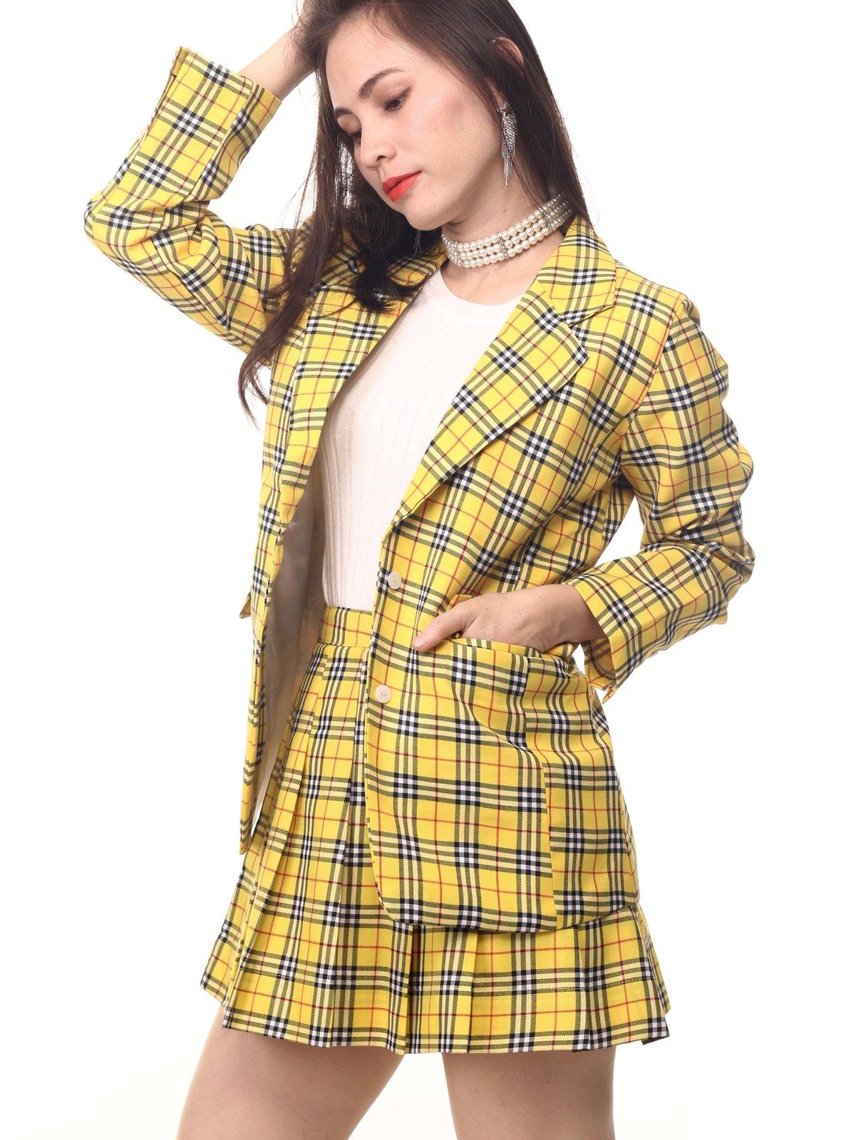 cher long blazer in yellow tartan