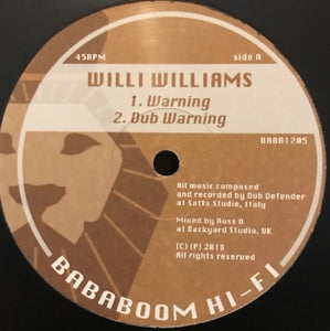 "Image of Willi Williams/bDub Defender - 'Warning' (12"" vinyl Bababoom hi-fi)"