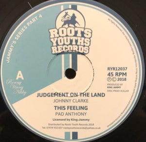 "Image of Johnny Clarke/Pad Anthony - 'Judgement On the Land/This Feeling' (12"" vinyl Jammy/Roots Youths)"