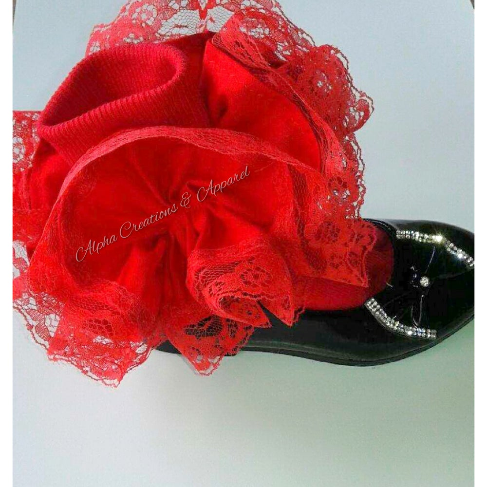 Image of Strawberry Red Ruffle Socks