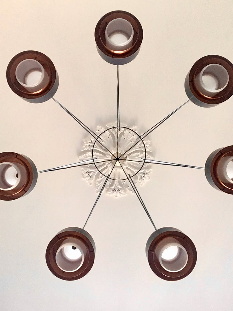 Image of Large Scale Mid-Century Chandelier of Satin Glass and Copper (2 Available)