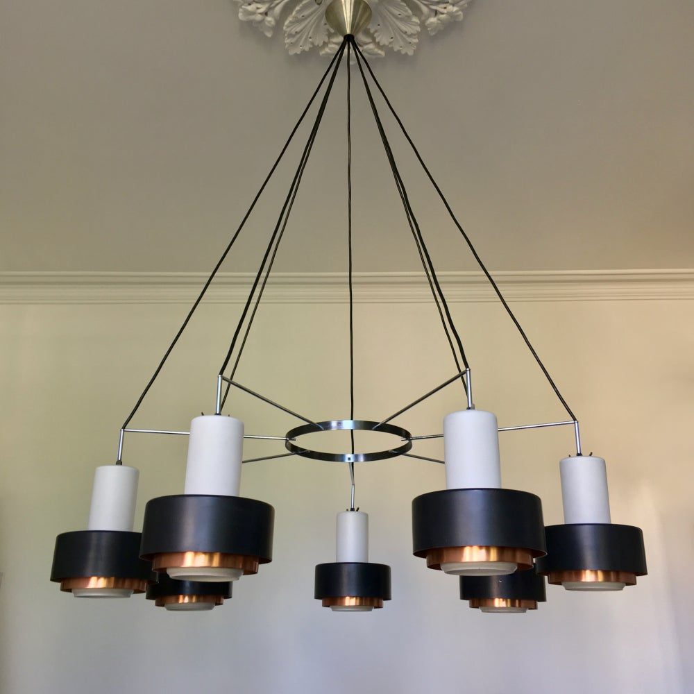 Image of Large Mid-Century Chandeliers of Satin Glass and Copper (2 Available)