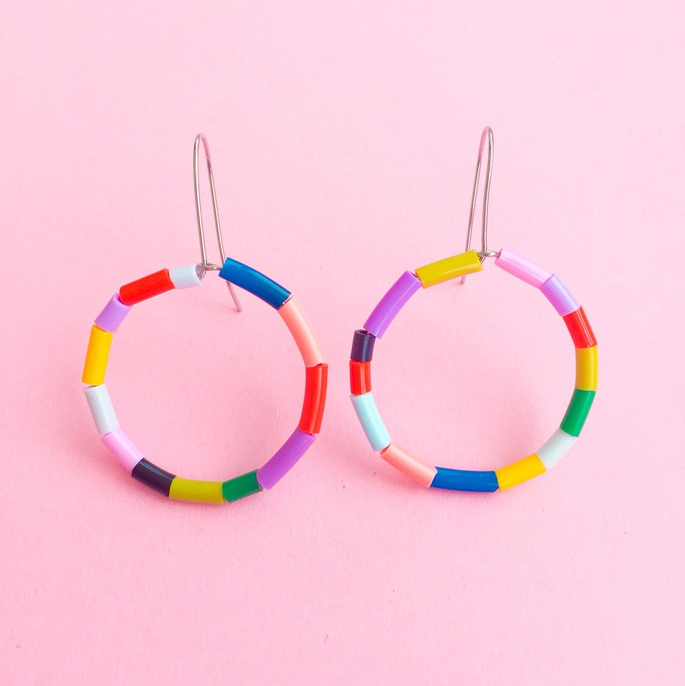 Image of Mini macaroni hoop earrings