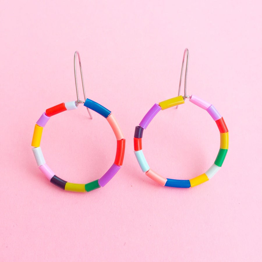 Image of Mini fruit loop hoop earrings