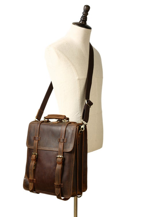 Image of Vintage Brown Rustic Leather Rucksack Backpack, Messenger Bag, Sling Shoulder Bag YD8062