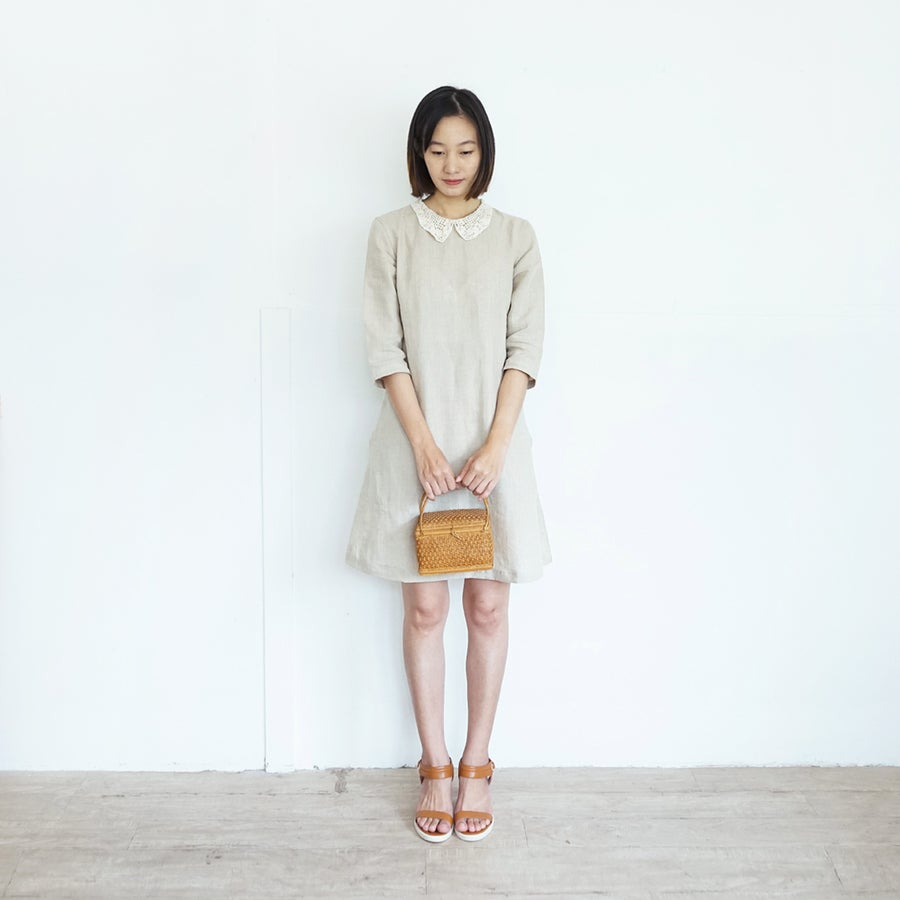 Image of Anne's Lace dress /  Linen Knee Length Dresses with Lace Collar Natural Color