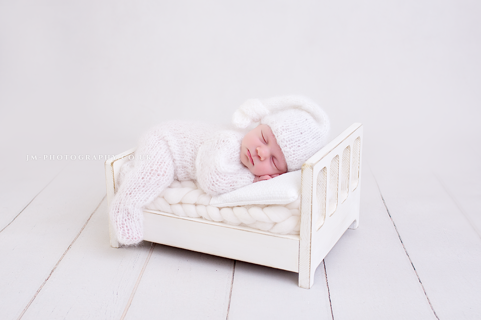 Image of Little Rustic Wooden Bed Newborn Prop