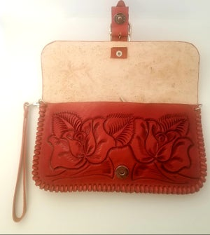 Image of Orange Hand-Tooled Leather Clutch with Wristlet and Crossbody Strap